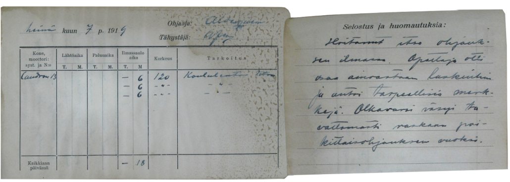 Vänrikki Järvisen lentopäiväkirja heinäkuulta 1919 kertoo, että jo toisella Caudron G.3:lla suoritetulla lennolla pääsi hän hoitamaan itse lentoonlähdön, opettaja Aldiguerin valvonnassa. Lentoon liittyvät kommentit kuvaavat terävästi Caudronin ohjaustuntumaa.