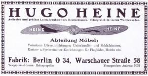 Heinen potkuri- ja kalustetehtaan mainos aikalaislehdestä