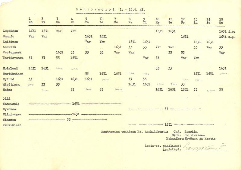 Kuten lento-osaston päällikön Ville Leppäsen allekirjoittamasta lentovuorodokumentista selviää, jatkosodan aikana Aeron koneet lensivät huomattavan määrän kuljetuksia sekä kotimaassa että ulkomailla. Jatkosodan loppuvaiheessa, vuosina 1943-1944, Aero lensi Berliiniin sota-ajan oloista huolimatta.