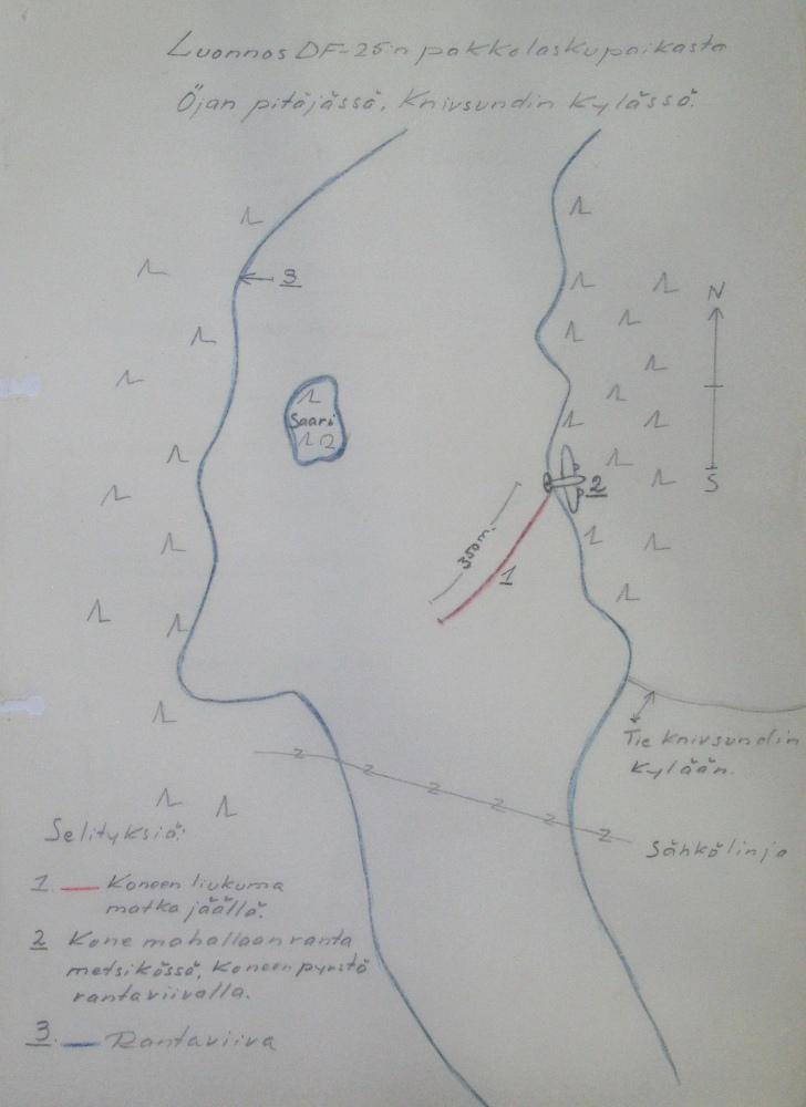 DF-25:n onnettomuuden havainnepiirros (liite 6, onnettomuustutkintapöytäkirja). Lähde: Kansallisarkisto