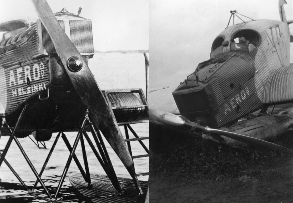 Vasemmalla olevassa tunnistamattomassa Aeron Junkersissa on Reedin valmistama yksiosainen kiinteänousuinen alumiinipotkuri. Oikealla, OH-ALI:n syyskuun 1931 onnettomuuskuvassa näkyy vuosikymmenen taitteessa L5-moottoreihin yhä useammin kiinnitetty Junkersin valmistama säätöpotkuri.
