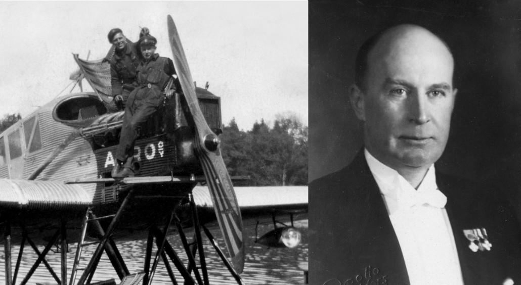 Vas. Junkers F.13 ja Heinen kiinteänousuinen kaksilapainen puupotkuri jossa lavassa valmistajan logo. Potkurinkehän läpimitta oli noin kolme metriä. Vasemmalla Aero Oy:n tekniikan työnjohtaja Fagerström, oikealla tuntematon mekaanikko. Konsuli, toimitusjohtaja Bruno Lucander helsinkiläisen Apollo-valokuvaamon kuvassa 1920-luvulla.