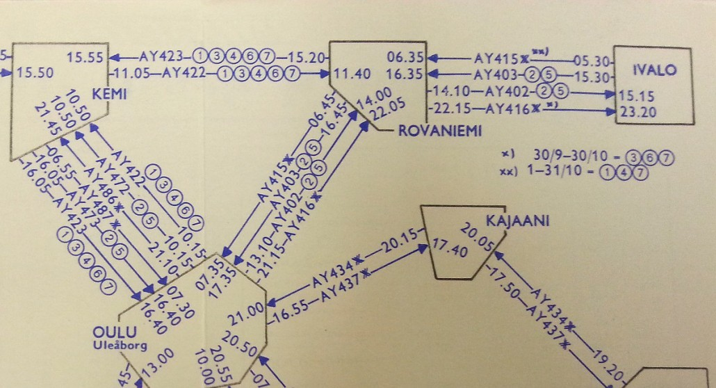 Ote, Aero Oy:n reittikartta 15.6.-31.10.1960