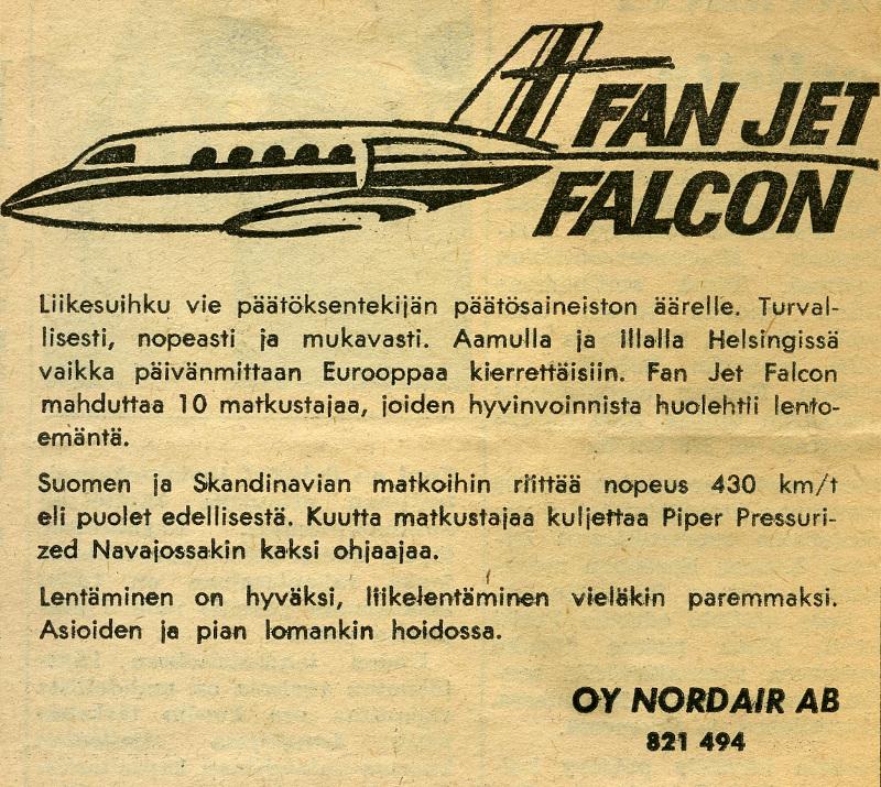 Aikakauden sanomalehtileikkeessä mainostetaan yhtiön uutta Falconia