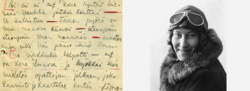 Oik. Rahoittaakseen lentoharrastustaan oli Vuokko Knuutila-Arni (1906-1972) luonut uraa mediassa jo aiemmin Helsingin Sanomien palveluksessa, kirjoitellen niin artikkeleita, reportaaseja kuin pakinoita mitä erilaisimmilta aloilta. Ensimmäisen radioreportaasin hän tehnyt vuonna 1934. Nainen oli monella tavalla uudisraivaaja: kuuluisin Knuutila-Arnin radioon tekemistä noin 400 reportaasista koski Hitlerin Saksassa vuonna 1936 järjestettyjä Berliinin olympialaisia, hän oli ainoa nainen radiokopissa kisojen aikana! Vas. Knuutilan ylöskirjattua selostusta Suur-Merijoen näytöksen lento-ohjaajaoppilaan lennosta.