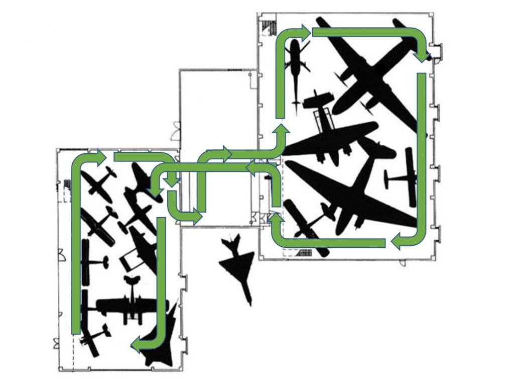 Museossa on kolme hallia ja näyttelykierto lähtee myötäpäivään. Ensimmäisessä hallissa on sotilasilmailua, välihalissa vaihtuva näyttely ja toisessa isossa hallissa siviili-ilmailua.